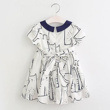 Girls Dress Summer New Style Girls Clothes Children Clothing Cute Cat Print  Solid Bow Voile Princess Dress