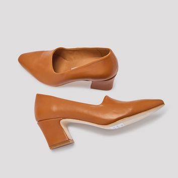 VIOLA TOBACCO LEATHER MID-HEELS