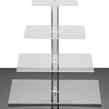 4-Tier Square Cupcake Stand By weddingwish Acrylic Tiered Cake Stand, Dessert Or Cupcake Tower - Clear, Stacked Wedding & Party Serving Platter For Cake, Cookies, Pastries …