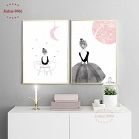Watercolor Girls Canvas Art Print Painting Poster, Wall Pictures for Girls Room Wall Art Decor Decoration Pictures CM022M