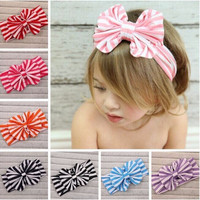 Cotton bow striped headbands