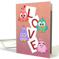 Cute Cartoon Birds with Love Spelled Out for Valentine's Day card