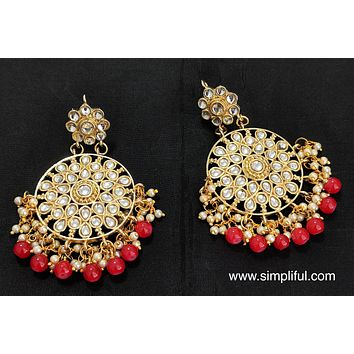 Circle  Kundan replica Earring - Design 5