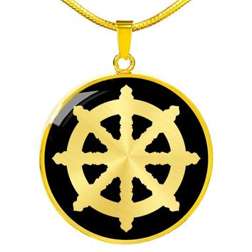 Dharma Wheel v2 - 18k Gold Finished Luxury Necklace