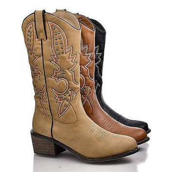 Rancher Tan Pu by Dollhouse, Western Pointed Toe Embroidered Studded Cowboy Mid Calf Riding Boot