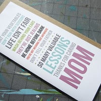 Lessons Mother's Day Card
