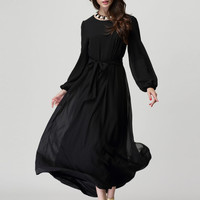 Black Long Sleeve Maxi Dress With Belt
