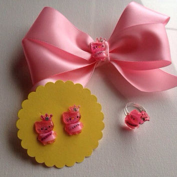 Pink Hello Kitty Hair Bow Set Matching Earrings Ring