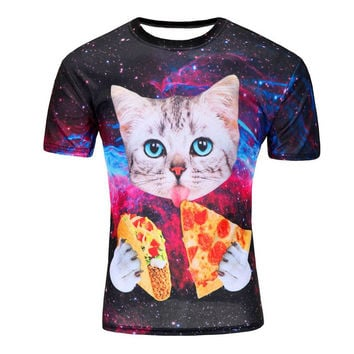 Short Sleeve Cat Eating Pizza in Space Printed Tshirt