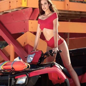 HOT RED CROSS SHOULDER TWO PIECE BIKINIS BATH SUIT SWIMWEAR