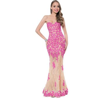Terani Couture Lace Strapless Formal Dress