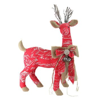 """24"""" Country Rustic Red  White and Brown Reindeer with Bow Christmas Decoration"""
