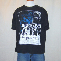 Vintage Super Rare 1991 NEW JACK CITY Rap Hip Hop Movie Graphic Large Black Cotton T-Shirt