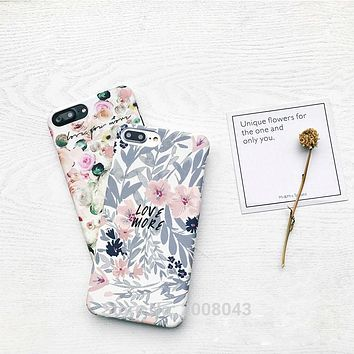 Retro Water Color Flower Floral Cover For iPhone 6 6S Plus Hard PC Cherry Blossom Phone Case for iPhone 7 7plus Hipster Stylish
