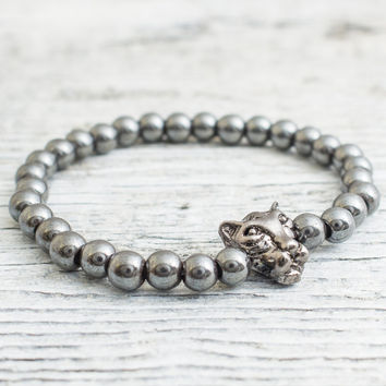 Hematite beaded gunmetal black Leopard stretchy bracelet, custom made yoga bracelet, mens bracelet, womens bracelet
