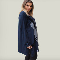 Blue viscose tunic  /Violin applique tunic/women long sleeves tunic /winter fashion /gift for musicians / asymmetric loose tunic
