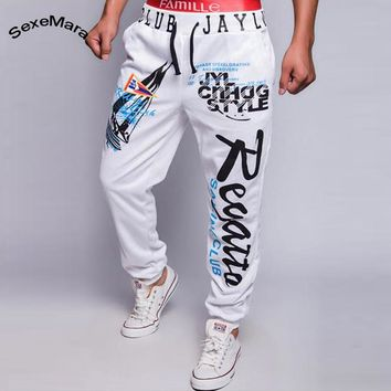 SexeMara Personality Design Sweatpants 2017 New Brand Sporting Letter Print Pants Men Casual Slim Comfrtable Trousers Workout
