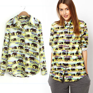 New Fashion Women's Cute Long Sleeve Lapel Shirts Cartoon Elephant Animal Print Slim Casual Girls Blouses Tops PS0454