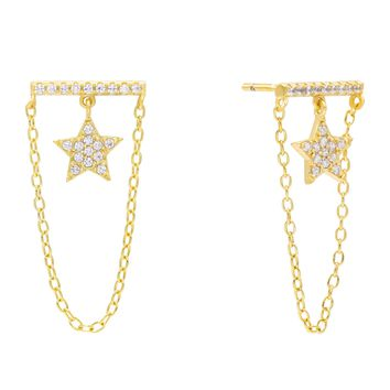 Star Bar Stud Earring