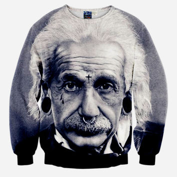 Hipster Einstein All Over Print Albert Einstein Black & White Crew Neck Sweatshirt