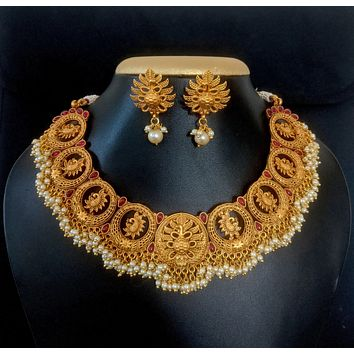 Traditional Antique Peacock Choker Necklace and Earring set with pearl cluster bead