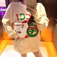 """Gucci""Clover Digital Letter Print Round Neck Double G Long Sleeve Single Shoulder Sweater Tops"