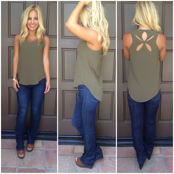 Morning Star Cutout Tank - OLIVE