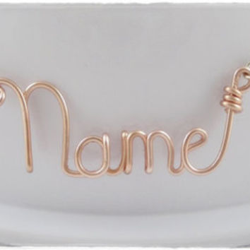 FREE SHIPPING!!!  Personalized, Customized Wire Name or Word Pendant Necklace Rose Gold Color