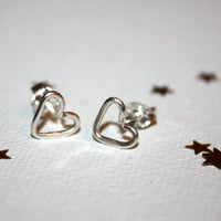hydi - sterling silver tiny heart studs by lilla stjarna - ft. sterling silver or 14 karat gold - gifts under 25