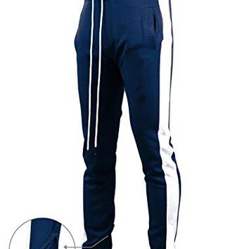 SCREENSHOTBRAND-S41700 Mens Hip Hop Premium Slim Fit Track Pants - Athletic Jogger Bottom with Side Taping-Navy-Large
