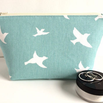 Large Cosmetic Bag, Sea Green Makeup Bag, Large Zipper Pouch, Bridesmaid Gift, Large Makeup Bag