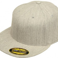Original Blank Flexfit Flatbill Premium Fitted 210 Hat Cap Flex Fit Flat Bill Large/Xlarge - Heather Grey