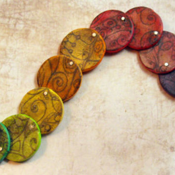Fanciful Artisan Polymer Clay Necklace -Retro-