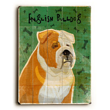 English Bulldog by Artist John W. Golden Wood Sign