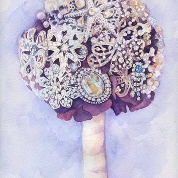 Custom Brooch Bouquet Painting - Unique Bridal Shower Gift - First Anniversary Paper - Watercolor Painting - Purple