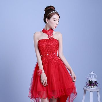 PTH-D48HS#2016 new summer short long before after shortparagraph a bride bridesmaid dresses wedding dress female toast Red