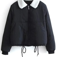Borg Collar Quilted Puffer Jacket