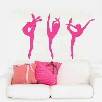 Wall Decal Vinyl Sticker Decals Home Decor Mural Ballerina Acrobatics Girl Ballet Dancer Gymnastics Sport Jump Bedroom Dance Studio AN204