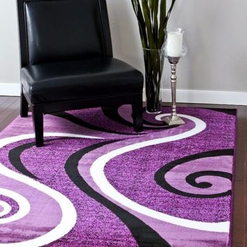 2702 Purple Abstract Contemporary Area Rugs