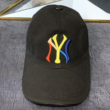 NY New fashion embroidery multicolor letter fisherman hat cap Black