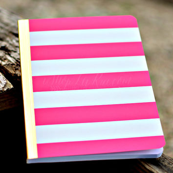 PINK AND WHITE STRIPE JOURNAL