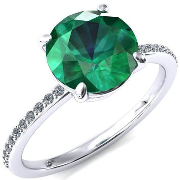 Flora Round Emerald 4 Prong 1/2 Bead Eternity Diamond Accent Engagement Ring