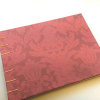 Red Damask Hard Cover Handmade Coptic Bound Journal, Diary, Junk Journal, Sketch Book, Guestbook, Writing Journal, 6 x 8 inch Landscape