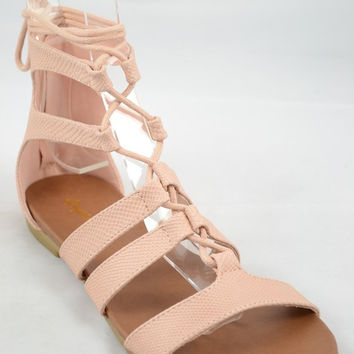 """Baya"" Snakeskin Lace Up Gladiator Flat Sandals - Blush"