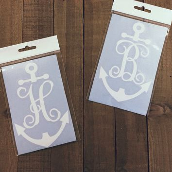 Simply Southern Script/Anchor Monogram Decal in White