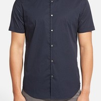 Men's John Varvatos Star USA Slim Fit Dot Print Short Sleeve Sport Shirt,