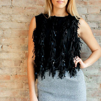 Claudette Fringe Top - Black
