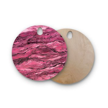 "Ebi Emporium ""Marble Idea! - Coral Pink"" Magenta Painting Round Wooden Cutting Board"