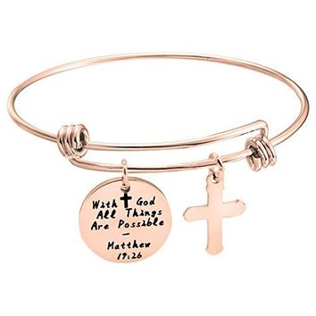 Gzrlyf With God All Things Are Possible Bracelet Cross Jewelry Christian Gift