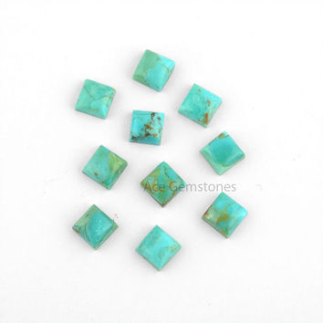 Arizona Turquoise Square Smooth Calibrated Cabochons, Wholesale Loose Gemstone for Making Jewelry 4mm to 8mm - 10 Pcs.